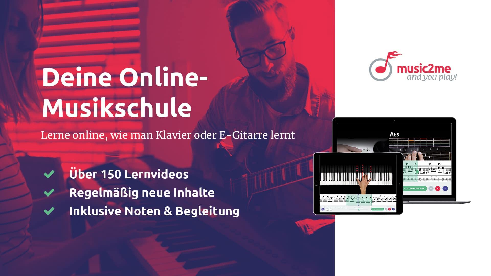 music2me Gitarre und Klavier Banner
