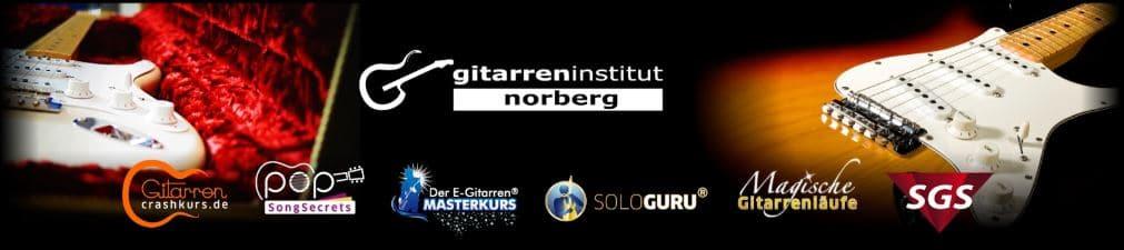 Ein Banner mit dem Logo von Gitarreninstitut Norberg und den Logos der einzelnen online Gitarrenkurse