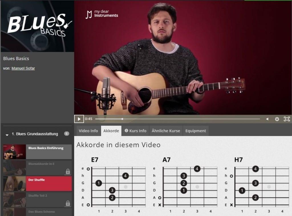 Das Bild zeigt den Online Gitarrenkurs Blues Basics von my dear instruments.  Ein Mann spielt Gitarre vor einem Mikrofon. Auf der unteren Seite stehen die zu spielenden Akkorde.